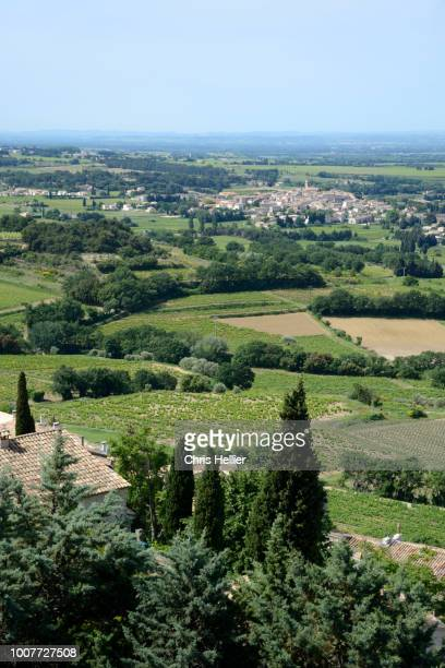 view from séguret over the côtes du rhône vineyards - rhone stock pictures, royalty-free photos & images