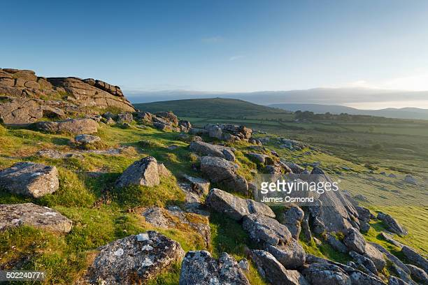 view from sharp tor towards corndon tor. - devon stock pictures, royalty-free photos & images