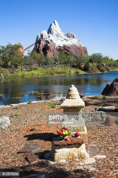 view from shrine to expedition everest, legend of the forbidden mountain, animal kingdom, disney world, orlando, florida, usa - disney's_animal_kingdom stock pictures, royalty-free photos & images