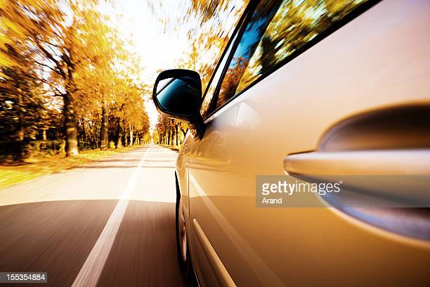 view from side of fast moving car