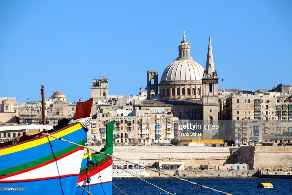 View from Sliema on Valletta across the bay, Malta : Stockfoto