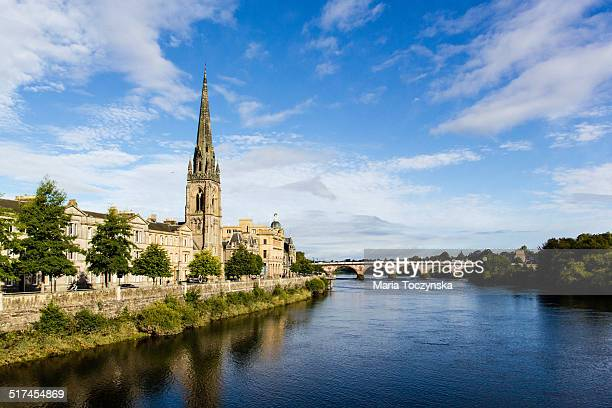 view from smeaton's bridge in perth - perth scotland stock pictures, royalty-free photos & images