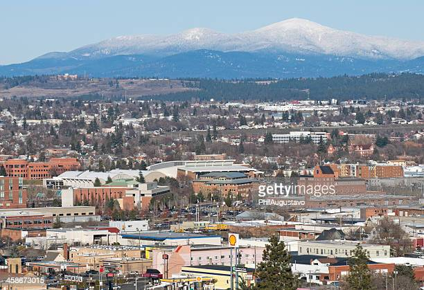 view from south hill over city of spokane - spokane stock pictures, royalty-free photos & images