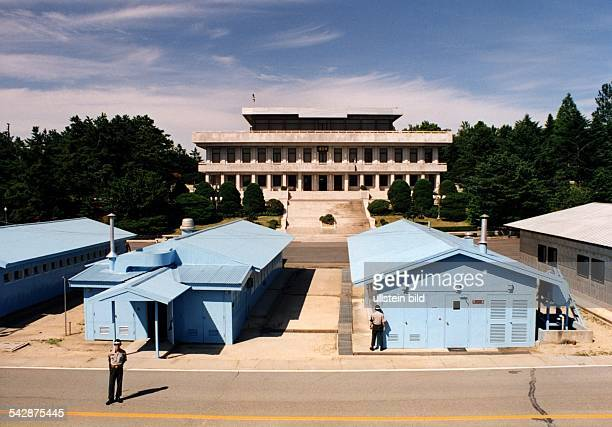 View from South Korean side of the Joint Security Area on the demarcation line between North and South Korea in Panmunjom the building at the back...