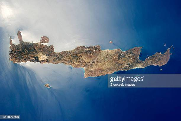 view from space of the island of crete. - gavdos stock pictures, royalty-free photos & images