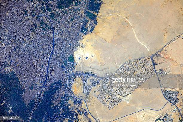View from space of the Pyramids at Giza, Egypt.