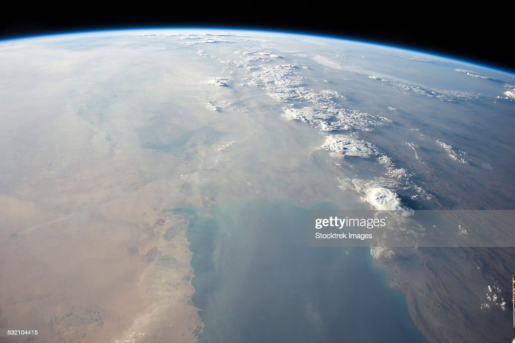 View from space showing the tropical blue waters of the Persian Gulf. : Stock Photo