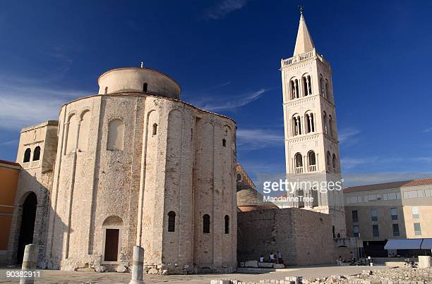 view from square, of st donat church, zadar, croatia - byzantine stock photos and pictures