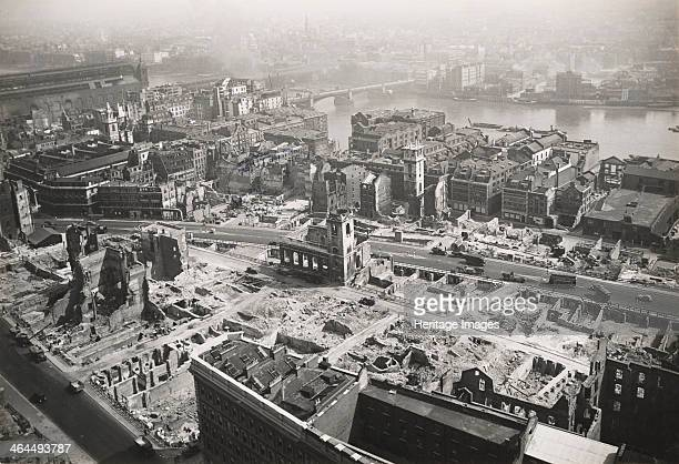 View from St Paul's Cathedral towards Southwark Bridge London World War II 1942 The photograph shows the extent of Luftwaffe bomb damage following...