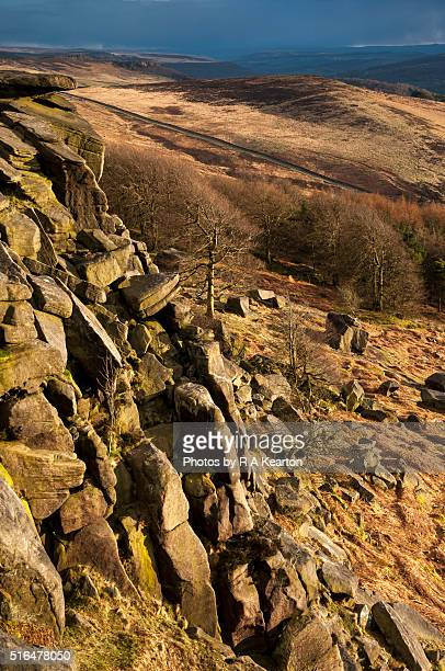 view from stanage edge, peak district, derbyshire - escarpment stock pictures, royalty-free photos & images
