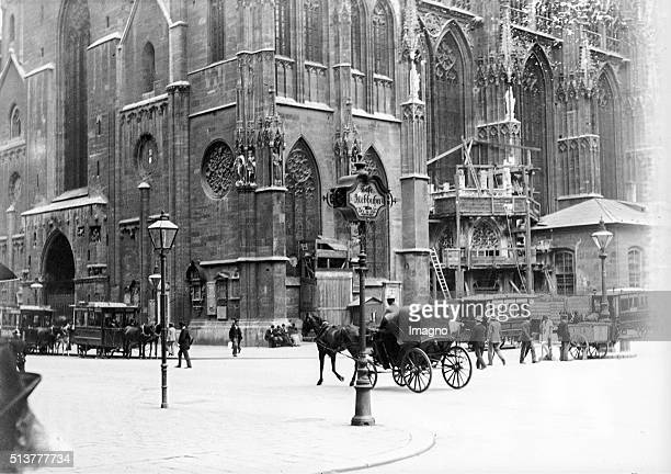 View from Stock im EisenPlace to Stephans place and St Stephen's Cathedral Vienna City circa 1900 By Karl Demel