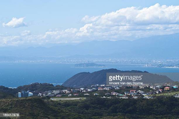 view from summit mt. ogusu - zushi kanagawa stock photos and pictures