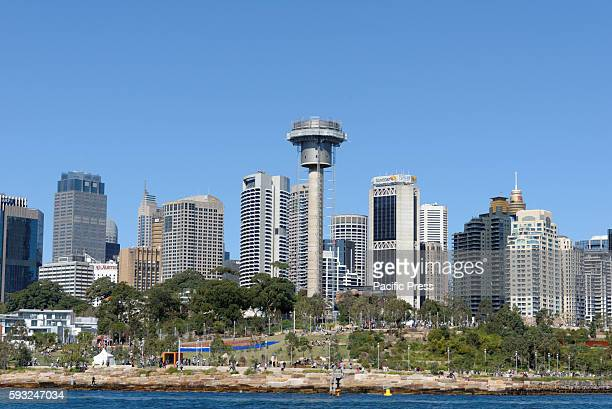 A view from Sydney Harbour during special celebrations to mark the first birthday of Sydneys spectacular Harbour headland park Barangaroo Reserve and...