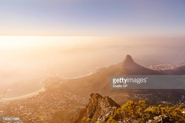 View from Table Mountain to Lions Head Mountain and Camp Bay, Cape Town, South Africa, Africa