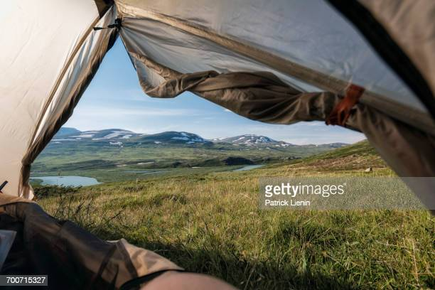 View from tent in mountains