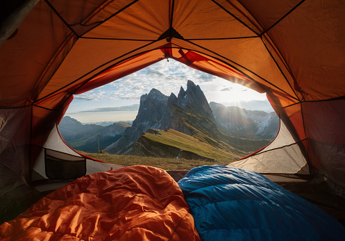 View from tent to the mountain. Sport and active life concept 865700880