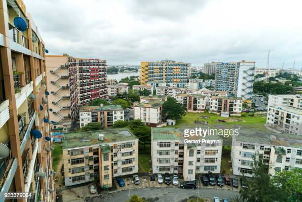 view from the 1004 apartment flats in lagos (nigeria) - lagos nigeria stock pictures, royalty-free photos & images