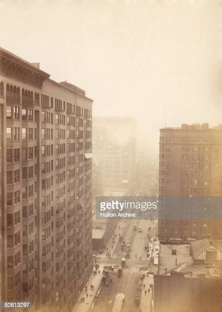 A view from the 14th storey of the Old Colony Building in Chicago showing the Monadnock Building on the left 2nd July 1895 Built in the early 1890s...
