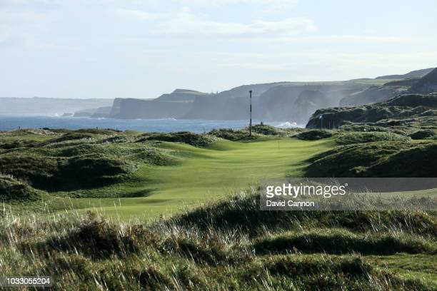 View from the 15th hole of the approach to the green on the 456 yards par 4, 10th hole 'Himalayas' at Royal Portrush Golf Club the venue for The Open...