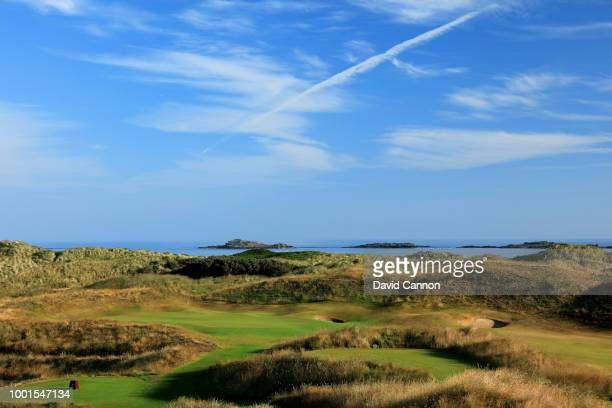 A view from the 16th tee of the green on the 590 yards par 5 seventh hole 'Curran Point' on the Dunluce Links at Royal Portrush Golf Club the venue...