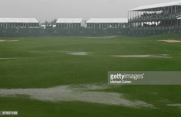 A view from the 18th fairway as play is suspended due to rain during the first round of the Puerto Rico Open presented by Banco Popular at Trump...