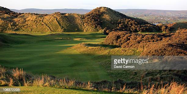 A view from the 1st tee towards the green on the 427 yards par 4 8th hole 'Portnahapple' on the Strand Course at Portstewart Golf Club on October 27...