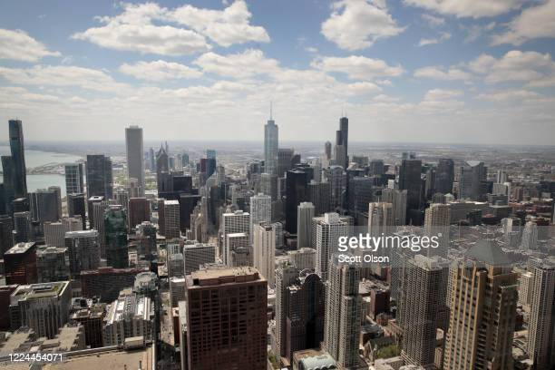 View from the 360 Chicago observation deck shows the city skyline, where most of the offices remain empty as work-from-home has become the new normal...