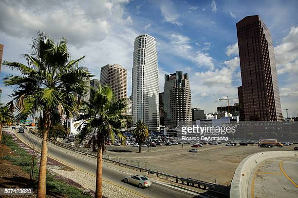 LOS ANGELES CA JANUARY 31 2014 View from the 9th Street off ramp looking N/E Parking lot surrounded by the Harbor Freeway 8th Street 9th Street and...