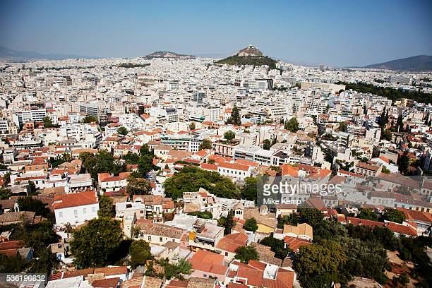 View from the Acropolis across Plaka towards Lykavittos Hill Mount Lycabettus also known as Lycabettos Lykabettos or Lykavittos is a Cretaceous...