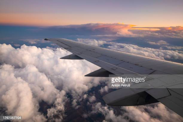 view from the airplane window to the wing at sunset - lateinamerika stock-fotos und bilder