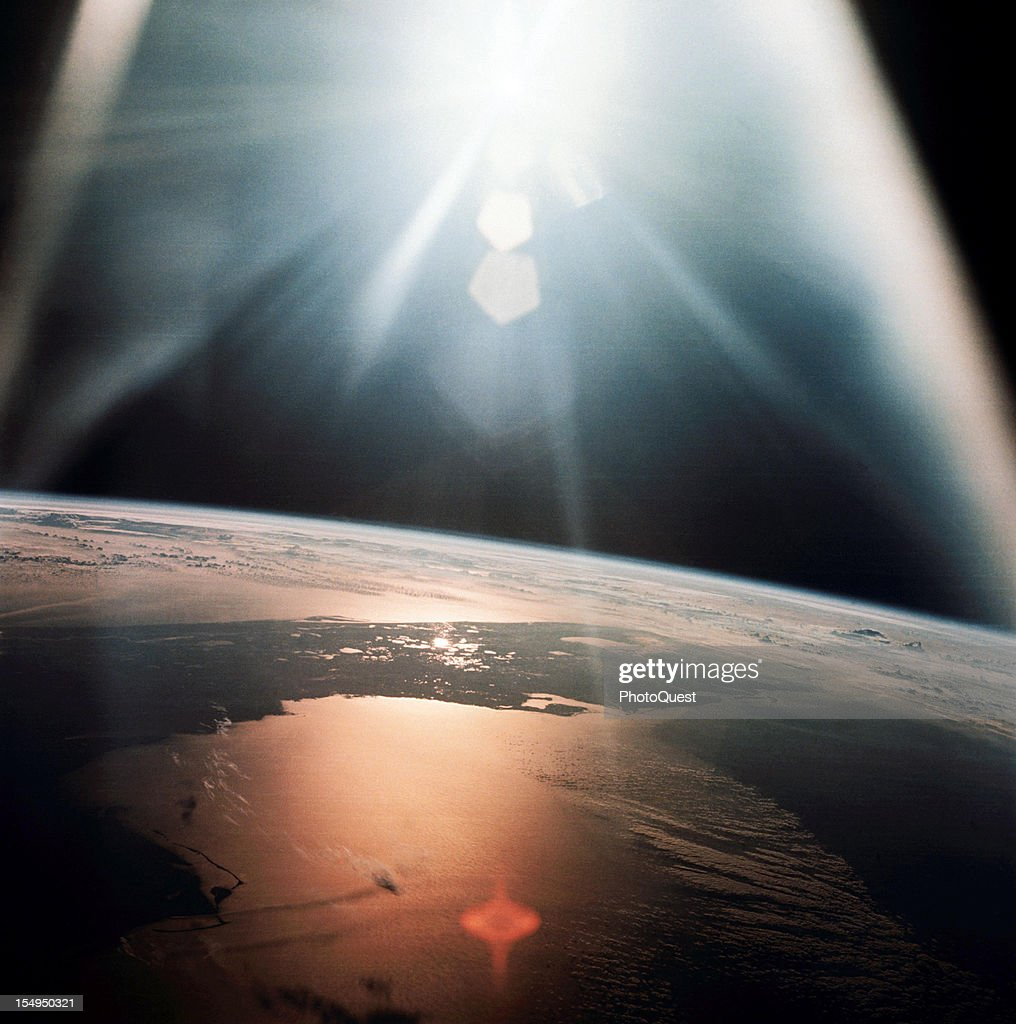 View from the Apollo 7 spacecraft (during its 134th revolution of the Earth) of the Gulf of Mexico and the Atlantic Ocean as they reflect the sun, October 20, 1968.