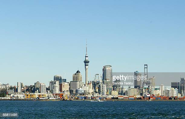 View from the Auckland Harbour looking back onto the Ports and through to the City skyline, Saturday 24th July 2004.