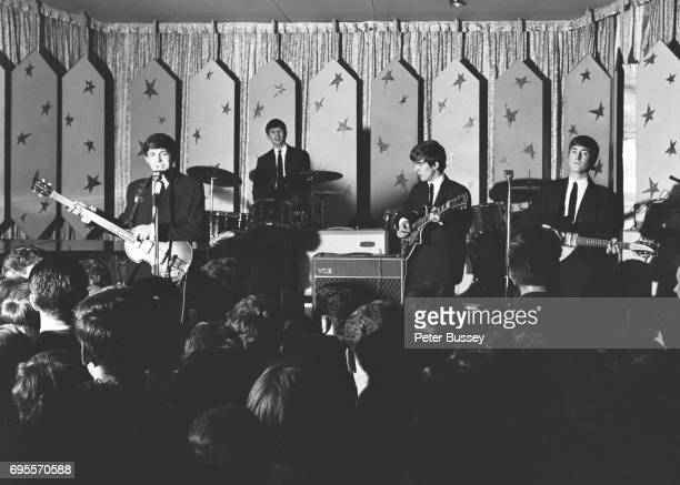 A view from the back of the hall looking over the top of the audience as The Beatles perform at the Majestic Ballroom Finsbury Park London 24th April...