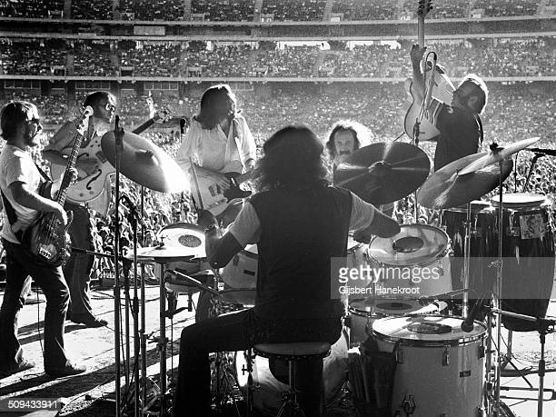 A view from the back of the stage as Crosby Stills Nash and Young perform at Oakland Colisseum California on July 14 1974 during their 1974 US Tour...