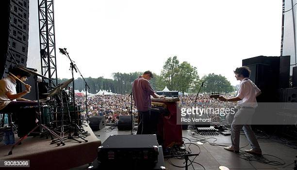 A view from the back of the stage of Robden Alexis Nunez Gwilym Gold and Ben Moorhouse of Golden Silvers performing on stage at Metropolis Festival...