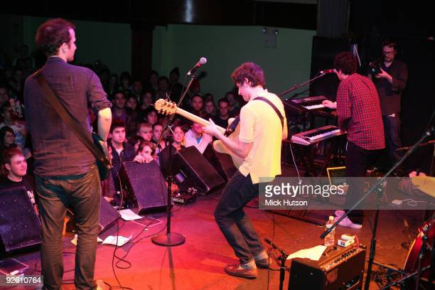 A view from the back of the stage showing Chris Baio Ezra Koenig and Rostam Batmanglij of Vampire Weekend performing at The Bowery Ballroom on...