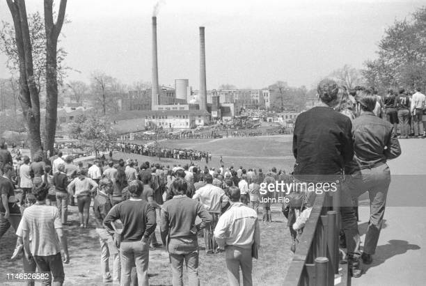 View, from the balcony of Taylor Hall, of Kent State University students gathered on Blanket Hill during an antiwar demonstration, Kent, Ohio, May 4,...
