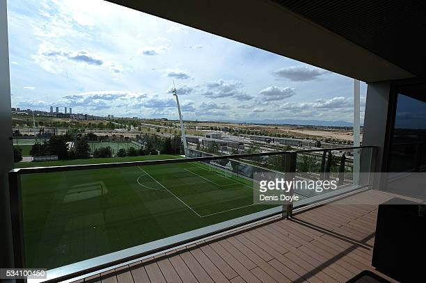 View from the balcony of the first team residence at Real Madrid's Valdebebas Ciudad del Real Madrid training grounds on May 24, 2016 in Madrid,...