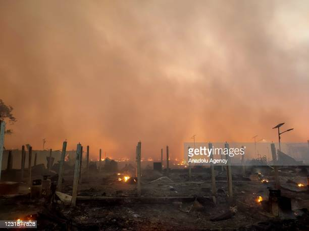 View from the Balukhali Rohingya camp after a huge fire broken out in Coxs Bazar, Bangladesh on March 22, 2021. A huge fire swept through Rohingya...