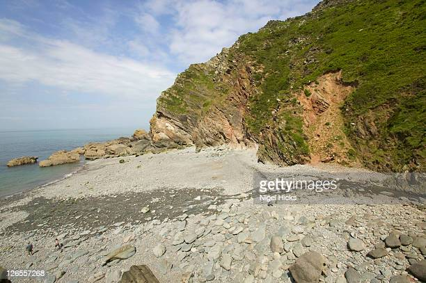 view from the base of cliffs at heddon's mouth, near lynton, in exmoor national park - lynton stock pictures, royalty-free photos & images