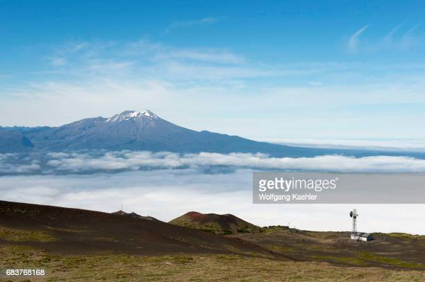 View from the base of Osorno volcano of Calbuco volcano which is a stratovolcano in southern Chile near Puerto Varas and Puerto Montt in the Lake...