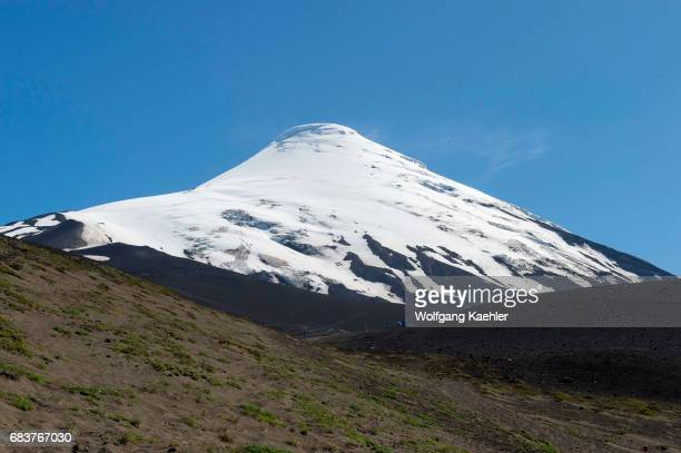 View from the base of Osorno volcano of the snow and glacier of Osorno volcano which is a stratovolcano in southern Chile near Puerto Varas and...