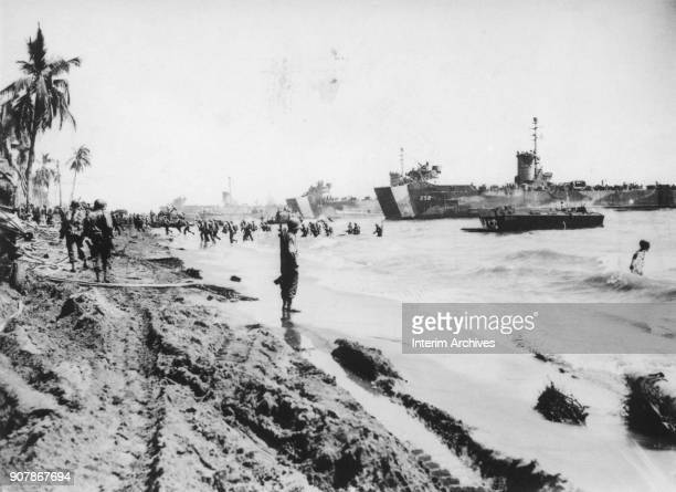 View from the beach of American vessels as they unload troops and equipment prior to the invasion of the Philippines October 20 1944 Among the...