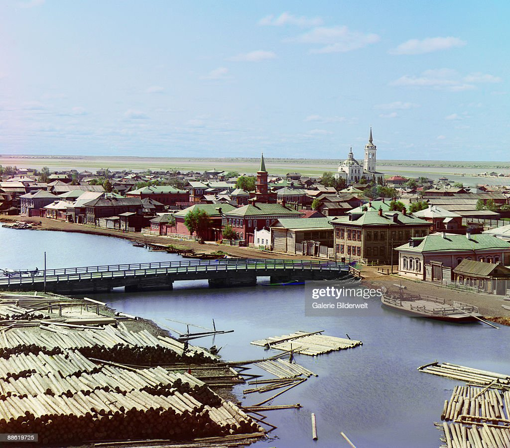A view, from the bell tower of the Church of the Transfiguration, over the city of Tobolsk, Russian Siberia, 1912.
