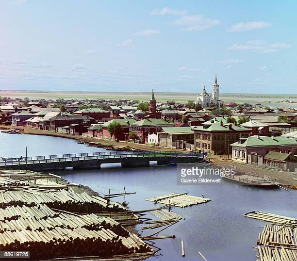 View, from the bell tower of the Church of the Transfiguration, over the city of Tobolsk, Russian Siberia, 1912.