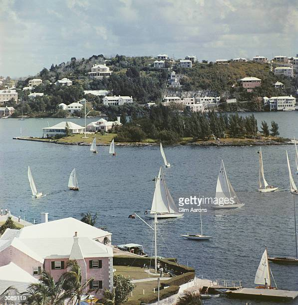 View from the Bermudiana Hotel looking towards Paget in the foreground the Royal Bermuda Yacht club A Wonderful Time Slim Aarons
