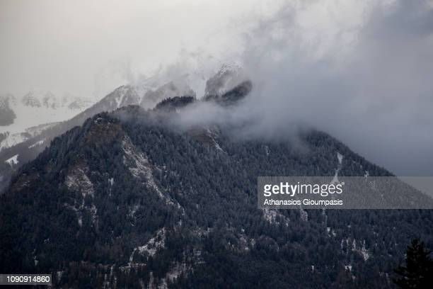 VIew from the Bernina Express at the Swiss Alps on January 02 2019 in St Moritz Switzerland The Rhaetian Railway of Albula/Bernina constitutes an...