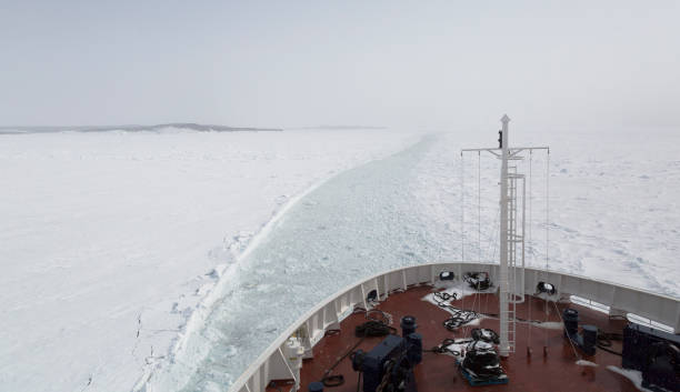 View from the bow of a ferry moving through pack ice