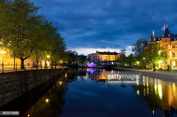 View from the bridge on a canal at night