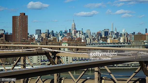 New York United States of America February 26 View from the Brooklyn Bridge to Manhattan with the Empire State Building in the center on February 26...